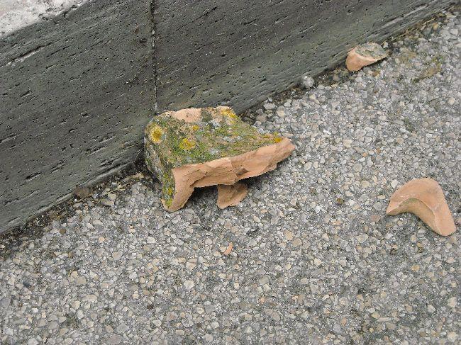 Un pezzo della tegola caduta